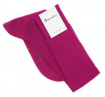 cotton lisle knee socks in raspberry, fine ribbed