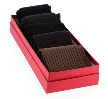 Pack of 5 pairs of high classic colors socks, cotton lisle.