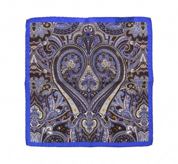 Brown Pocket Square with Paisley Pattern - Prato